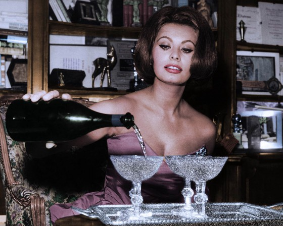 Sophia Loren Pouring Champagne - Diamond Dust